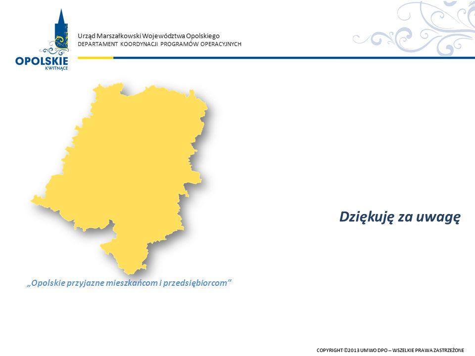 Urząd Marszałkowski Województwa Opolskiego DEPARTAMENT KOORDYNACJI PROGRAMÓW OPERACYJNYCH COPYRIGHT © 2013 UMWO DPO – WSZELKIE PRAWA ZASTRZEŻONE Dzięk