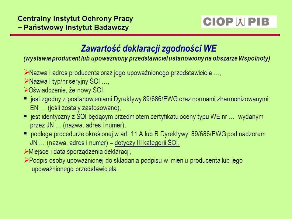 Centralny Instytut Ochrony Pracy – Państwowy Instytut Badawczy Zawartość deklaracji zgodności WE (wystawia producent lub upoważniony przedstawiciel us