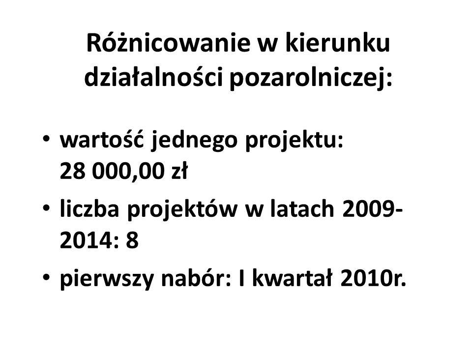 Różnicowanie w kierunku działalności pozarolniczej: wartość jednego projektu: 28 000,00 zł liczba projektów w latach 2009- 2014: 8 pierwszy nabór: I k