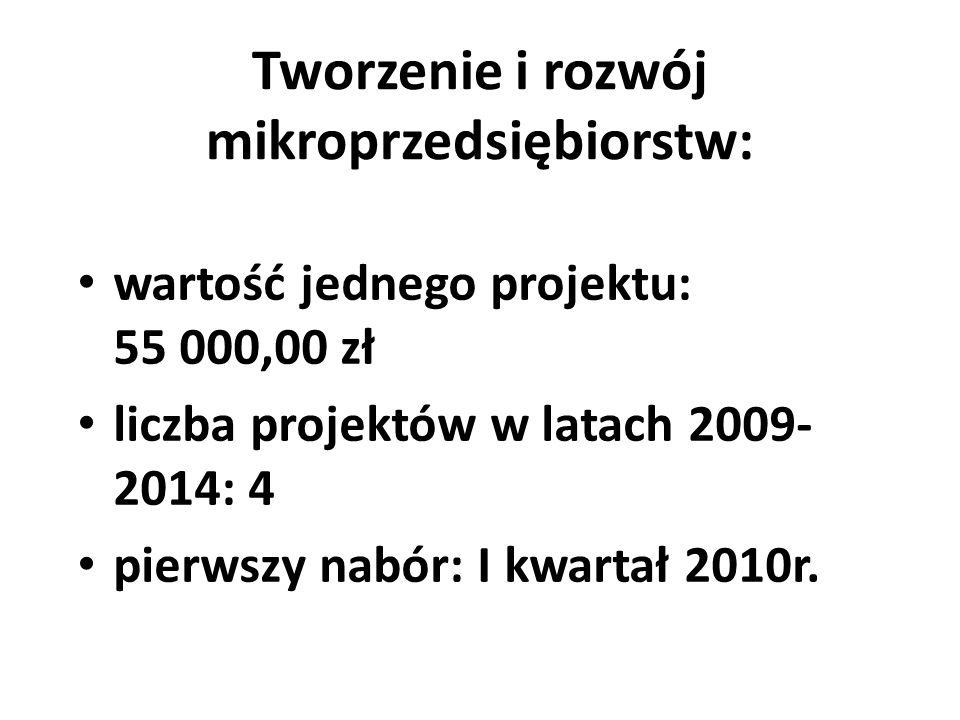 Tworzenie i rozwój mikroprzedsiębiorstw: wartość jednego projektu: 55 000,00 zł liczba projektów w latach 2009- 2014: 4 pierwszy nabór: I kwartał 2010
