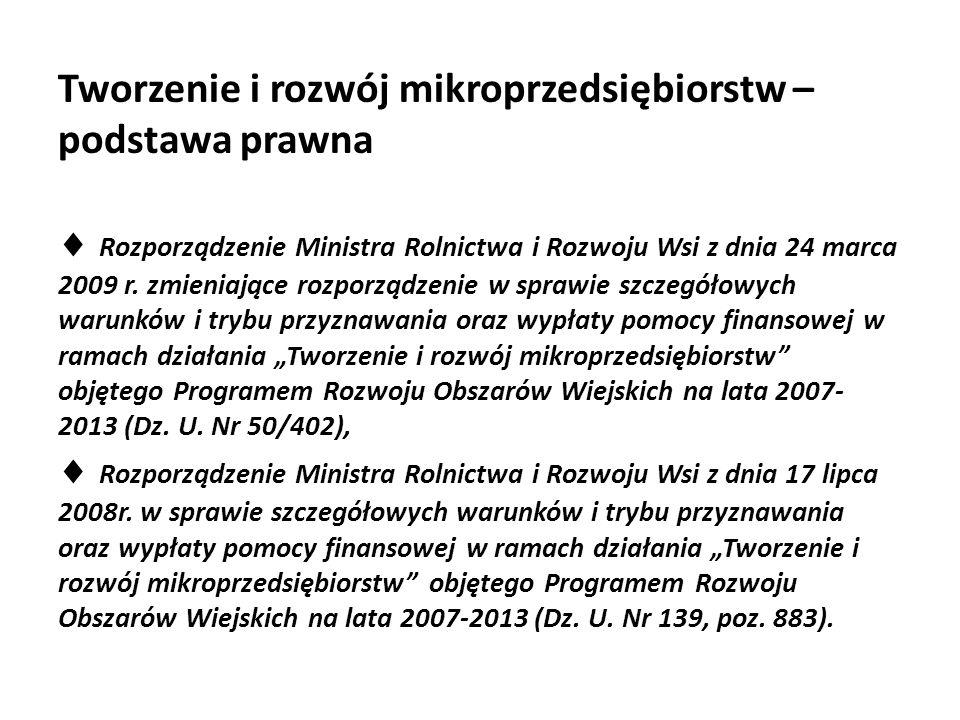 Tworzenie i rozwój mikroprzedsiębiorstw – podstawa prawna  Rozporządzenie Ministra Rolnictwa i Rozwoju Wsi z dnia 24 marca 2009 r. zmieniające rozpor