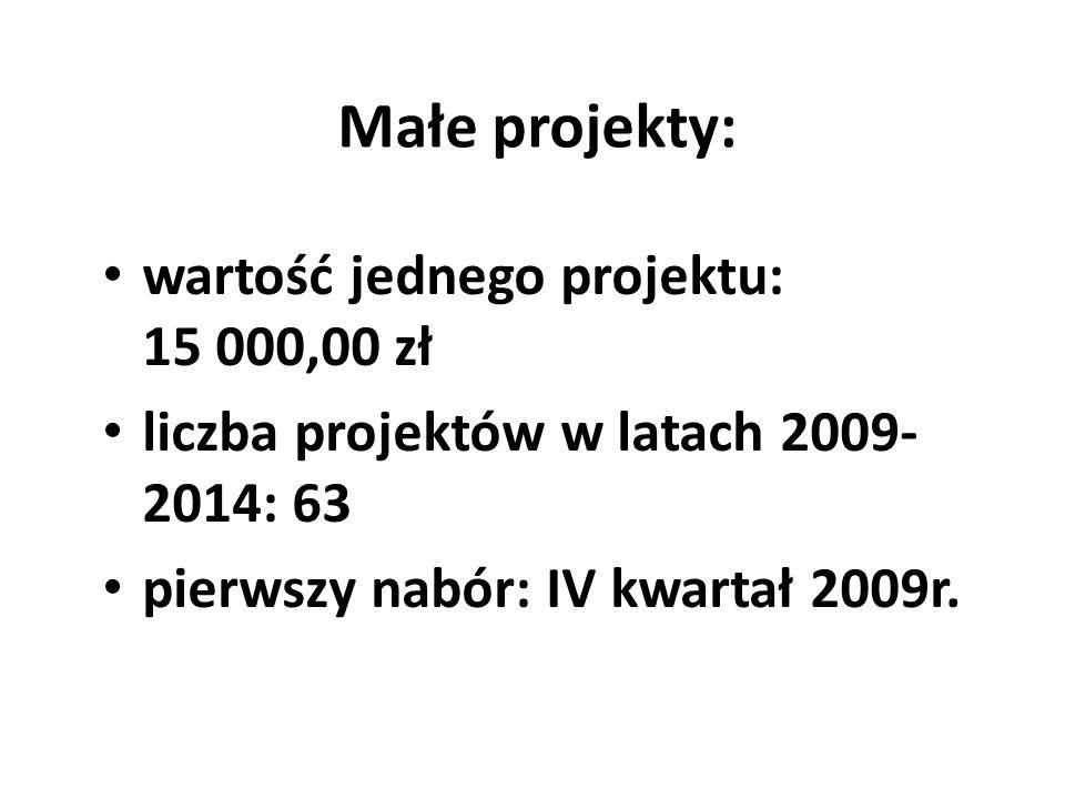 Małe projekty: wartość jednego projektu: 15 000,00 zł liczba projektów w latach 2009- 2014: 63 pierwszy nabór: IV kwartał 2009r.