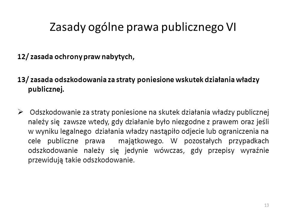 Zasady ogólne prawa publicznego VI 12/ zasada ochrony praw nabytych, 13/ zasada odszkodowania za straty poniesione wskutek działania władzy publicznej