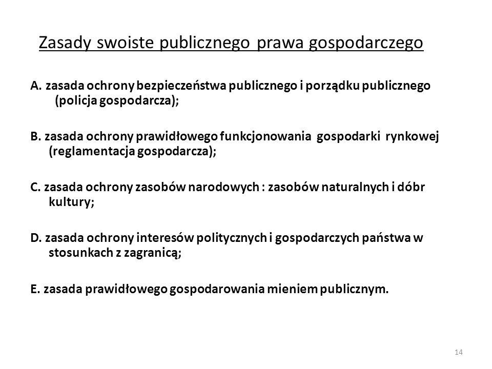 Zasady swoiste publicznego prawa gospodarczego A. zasada ochrony bezpieczeństwa publicznego i porządku publicznego (policja gospodarcza); B. zasada oc