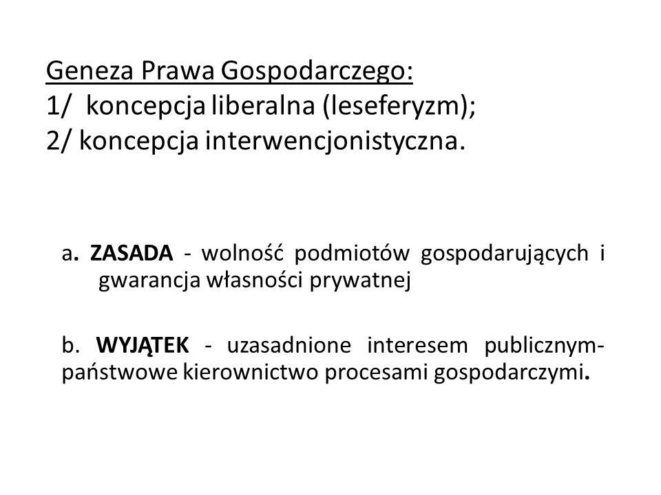 Geneza Prawa Gospodarczego: 1/ koncepcja liberalna (leseferyzm); 2/ koncepcja interwencjonistyczna. a. ZASADA - wolność podmiotów gospodarujących i gw