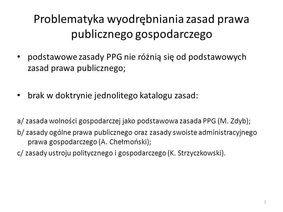 Problematyka wyodrębniania zasad prawa publicznego gospodarczego podstawowe zasady PPG nie różnią się od podstawowych zasad prawa publicznego; brak w