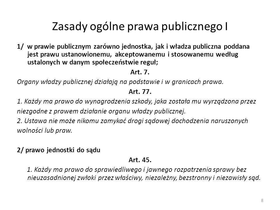 Zasady ogólne prawa publicznego I 1/ w prawie publicznym zarówno jednostka, jak i władza publiczna poddana jest prawu ustanowionemu, akceptowanemu i s