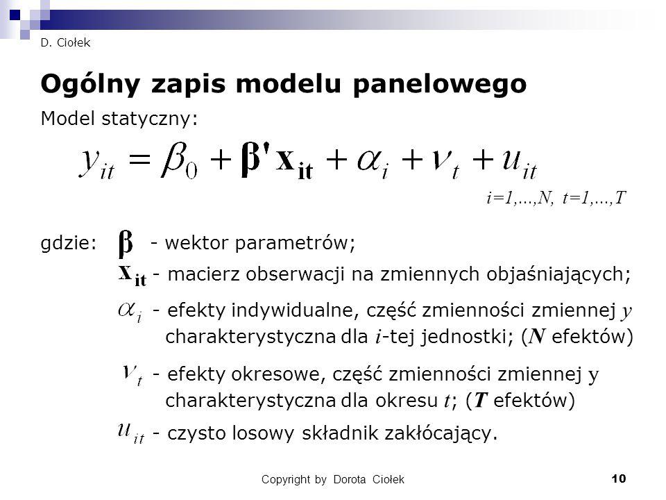 Copyright by Dorota Ciołek10 D. Ciołek Ogólny zapis modelu panelowego Model statyczny: gdzie: - wektor parametrów; - macierz obserwacji na zmiennych o