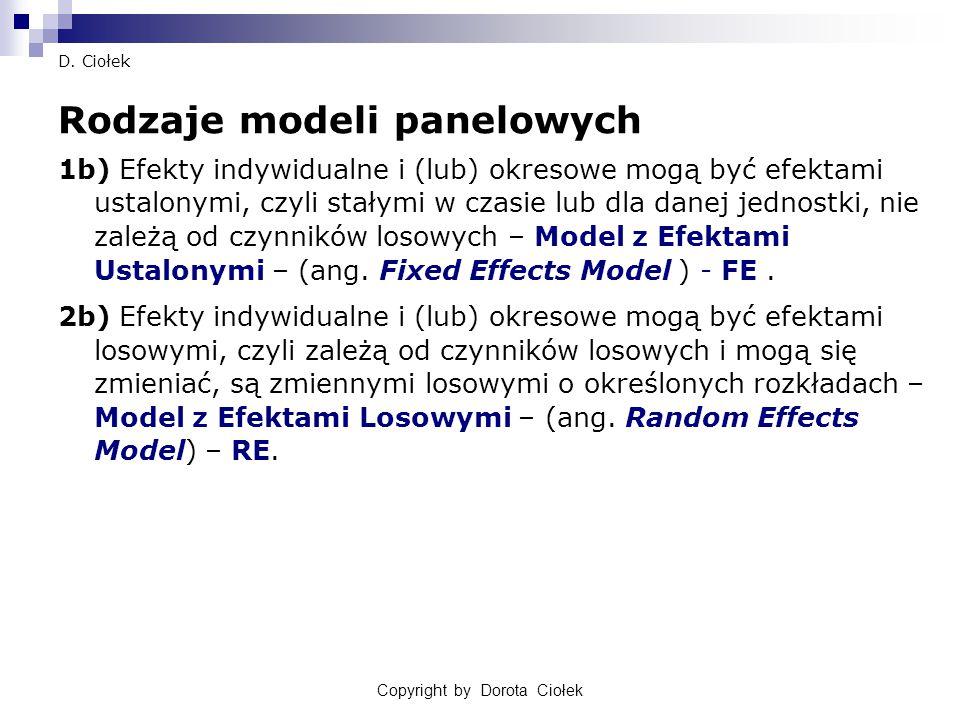 Copyright by Dorota Ciołek D. Ciołek Rodzaje modeli panelowych 1b) Efekty indywidualne i (lub) okresowe mogą być efektami ustalonymi, czyli stałymi w
