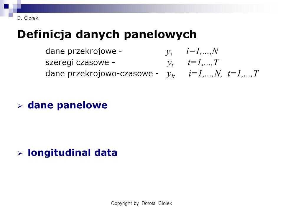 Copyright by Dorota Ciołek D. Ciołek Definicja danych panelowych dane przekrojowe - y i i=1,...,N szeregi czasowe - y t t=1,...,T dane przekrojowo-cza