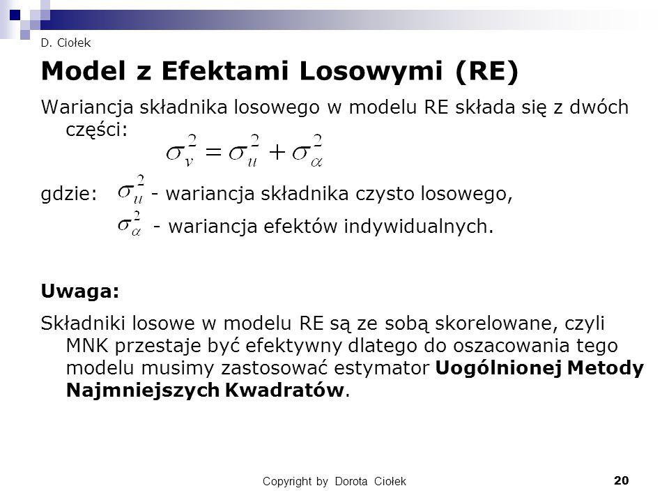 Copyright by Dorota Ciołek20 D. Ciołek Model z Efektami Losowymi (RE) Wariancja składnika losowego w modelu RE składa się z dwóch części: gdzie: - war