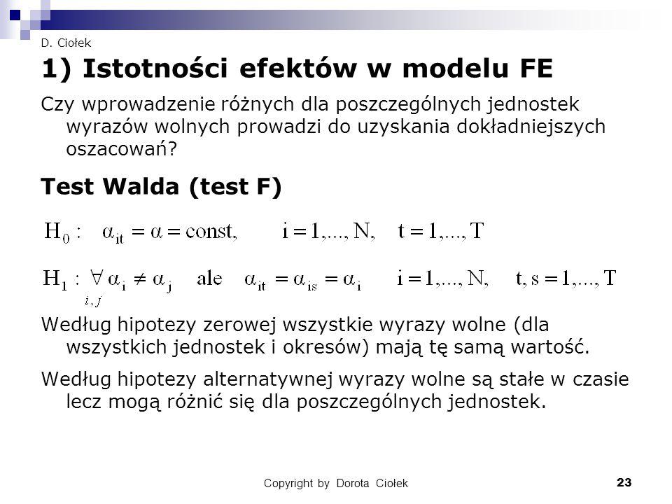 Copyright by Dorota Ciołek23 D. Ciołek 1) Istotności efektów w modelu FE Czy wprowadzenie różnych dla poszczególnych jednostek wyrazów wolnych prowadz