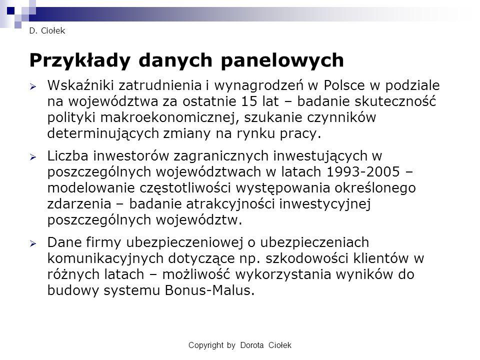 Copyright by Dorota Ciołek D. Ciołek Przykłady danych panelowych  Wskaźniki zatrudnienia i wynagrodzeń w Polsce w podziale na województwa za ostatnie