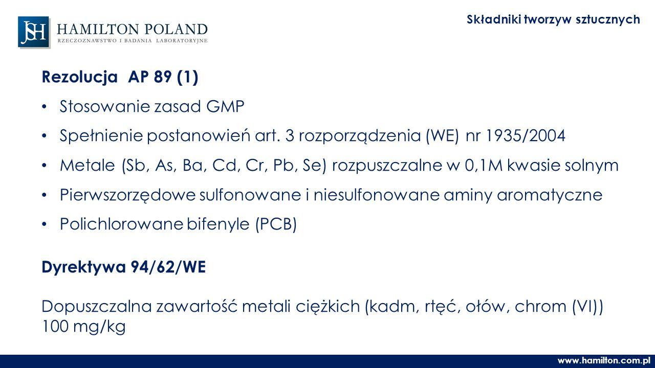 www.hamilton.com.pl Składniki tworzyw sztucznych Rezolucja AP 89 (1) Stosowanie zasad GMP Spełnienie postanowień art.