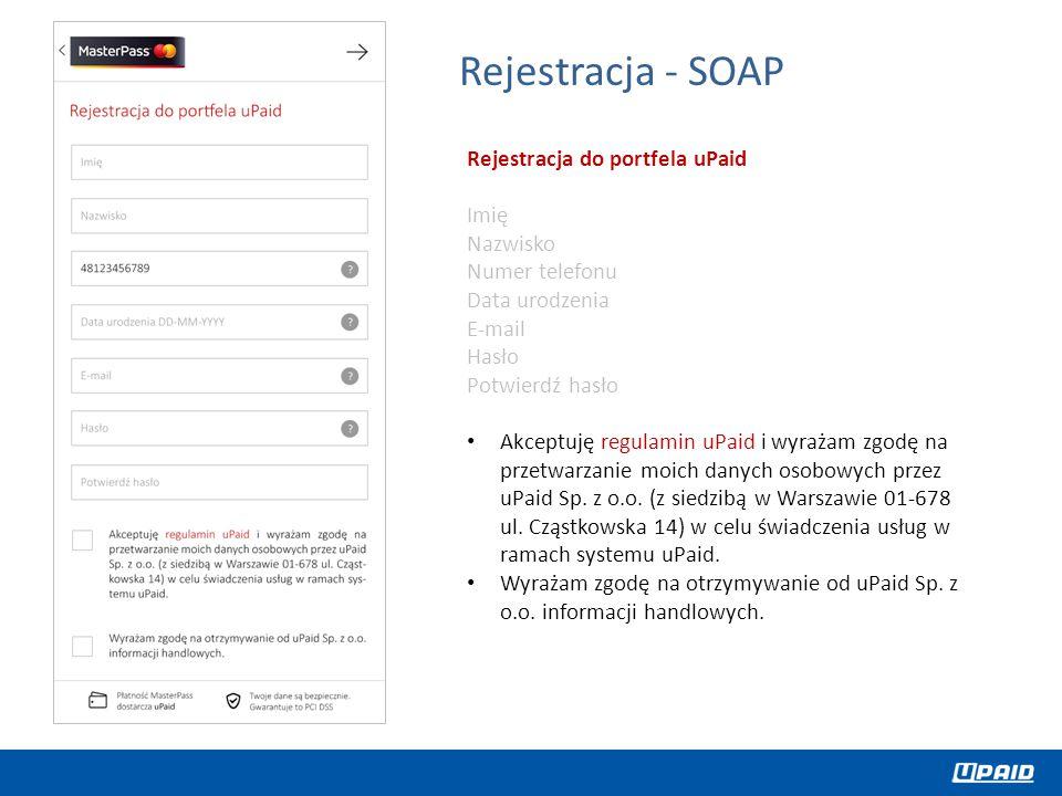 Rejestracja do portfela uPaid Imię Nazwisko Numer telefonu Data urodzenia E-mail Hasło Potwierdź hasło Akceptuję regulamin uPaid i wyrażam zgodę na przetwarzanie moich danych osobowych przez uPaid Sp.