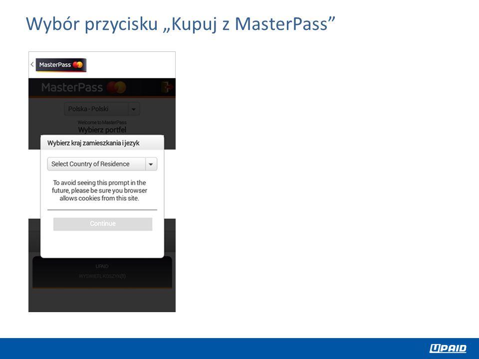 """Wybór przycisku """"Kupuj z MasterPass"""