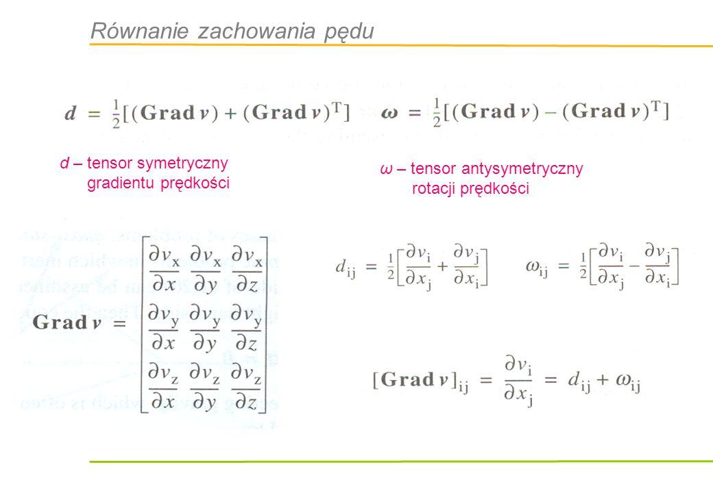 d – tensor symetryczny gradientu prędkości ω – tensor antysymetryczny rotacji prędkości