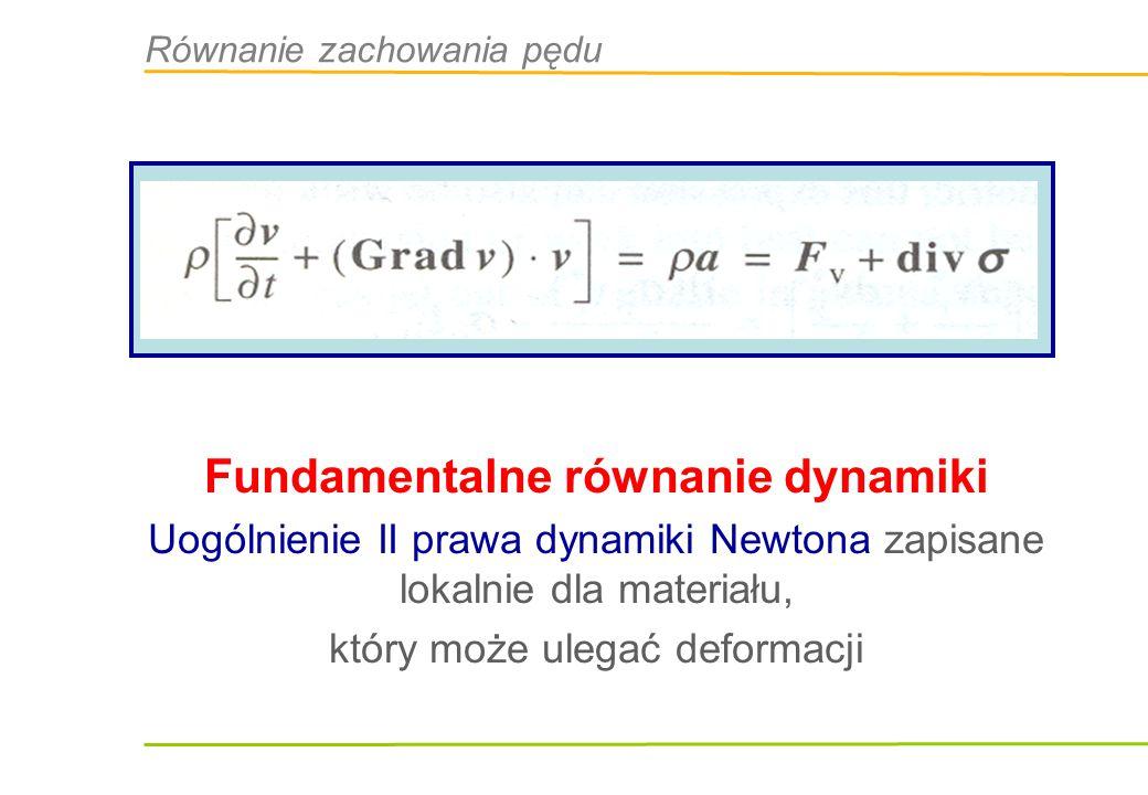 Fundamentalne równanie dynamiki Uogólnienie II prawa dynamiki Newtona zapisane lokalnie dla materiału, który może ulegać deformacji