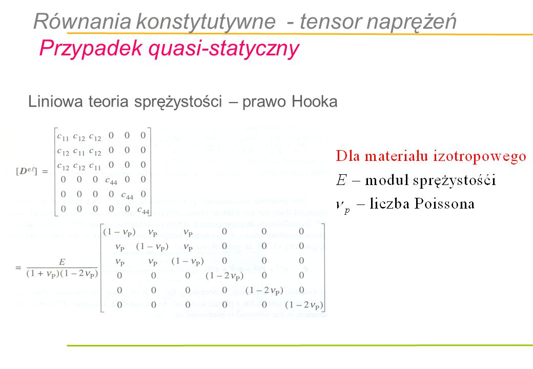 Liniowa teoria sprężystości – prawo Hooka Równania konstytutywne - tensor naprężeń Przypadek quasi-statyczny