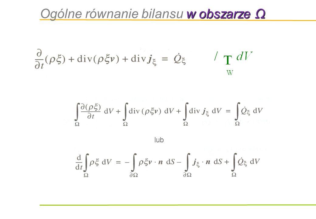 w obszarze Ω Ogólne równanie bilansu w obszarze Ω lub