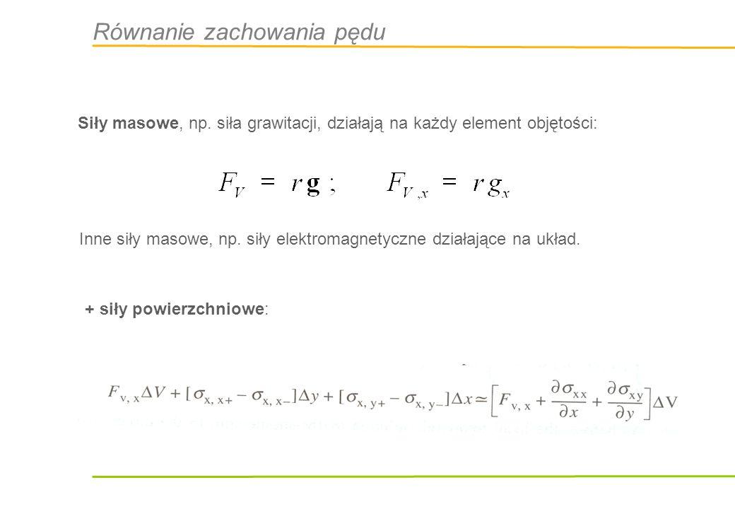 Równanie zachowania pędu We współrzędnych Eulera (względem nieruchomego zewnętrznego obserwatora) w równaniu bilansu pędu musimy uwzględnić przepływ pędu przez brzeg: