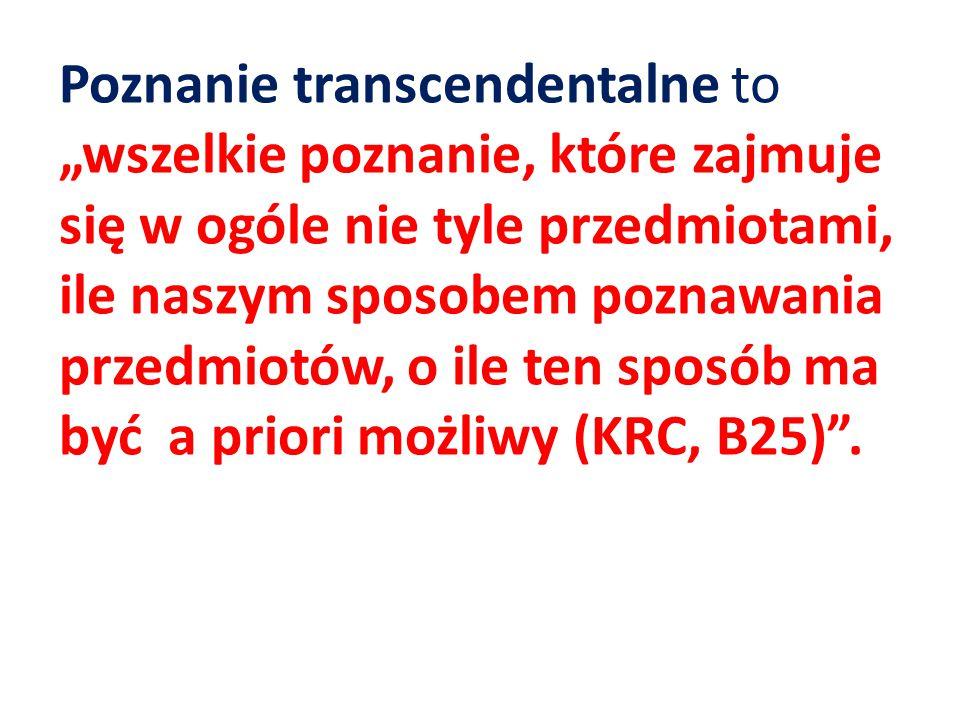 """Poznanie transcendentalne to """"wszelkie poznanie, które zajmuje się w ogóle nie tyle przedmiotami, ile naszym sposobem poznawania przedmiotów, o ile ten sposób ma być a priori możliwy (KRC, B25) ."""