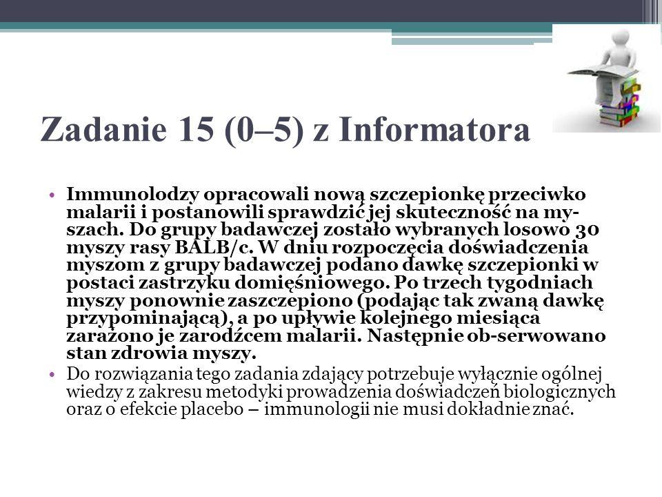 Zadanie 15 (0–5) z Informatora Immunolodzy opracowali nową szczepionkę przeciwko malarii i postanowili sprawdzić jej skuteczność na my- szach.