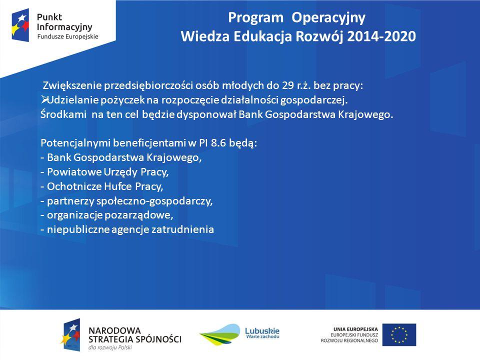 Program Operacyjny Wiedza Edukacja Rozwój 2014-2020 Zwiększenie przedsiębiorczości osób młodych do 29 r.ż. bez pracy:  Udzielanie pożyczek na rozpocz