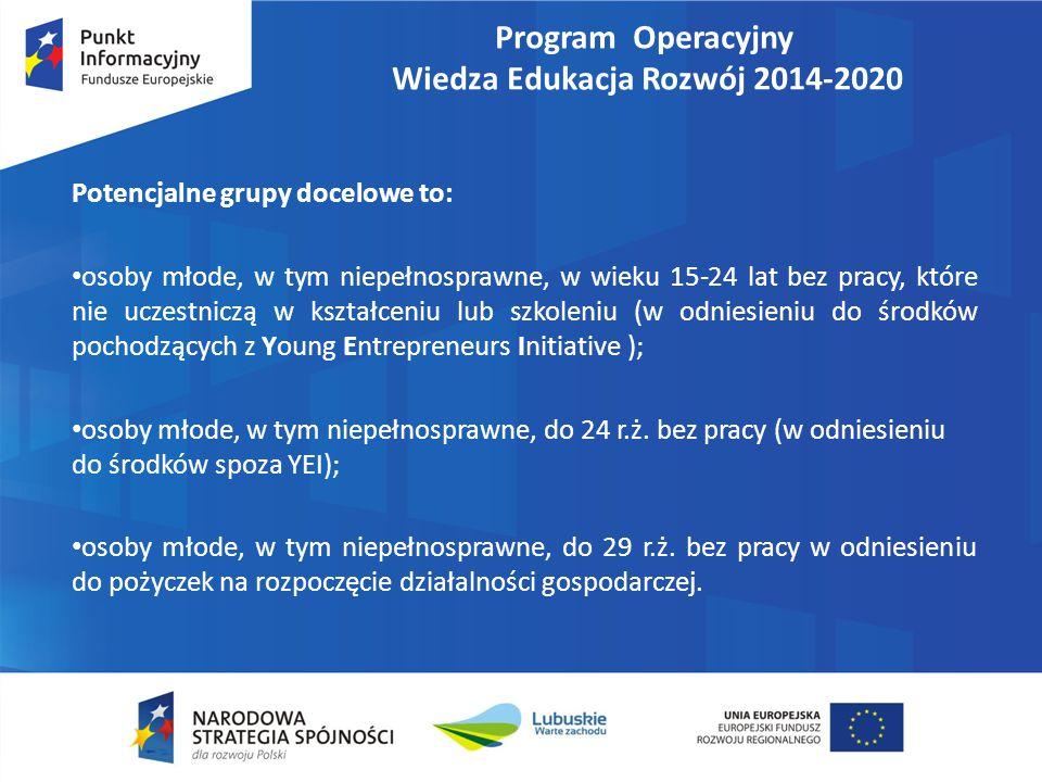 Program Operacyjny Wiedza Edukacja Rozwój 2014-2020 Potencjalne grupy docelowe to: osoby młode, w tym niepełnosprawne, w wieku 15-24 lat bez pracy, które nie uczestniczą w kształceniu lub szkoleniu (w odniesieniu do środków pochodzących z Young Entrepreneurs Initiative ); osoby młode, w tym niepełnosprawne, do 24 r.ż.