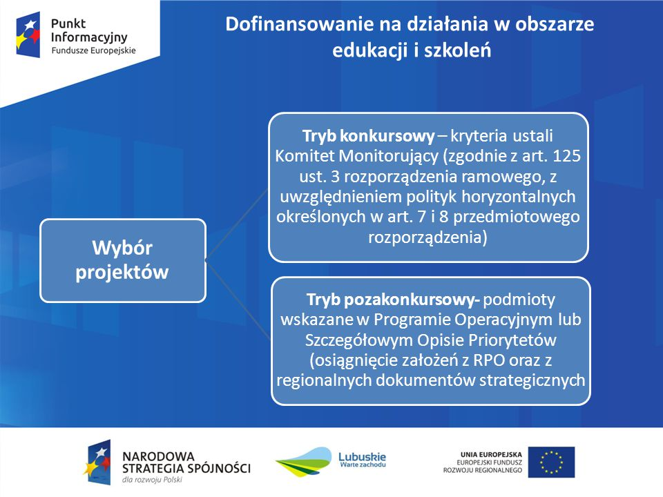 Dofinansowanie na działania w obszarze edukacji i szkoleń Wybór projektów Tryb konkursowy – kryteria ustali Komitet Monitorujący (zgodnie z art. 125 u