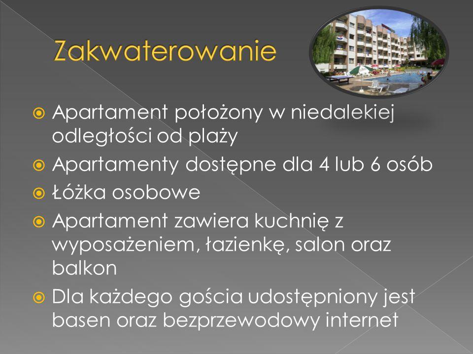  Apartament położony w niedalekiej odległości od plaży  Apartamenty dostępne dla 4 lub 6 osób  Łóżka osobowe  Apartament zawiera kuchnię z wyposażeniem, łazienkę, salon oraz balkon  Dla każdego gościa udostępniony jest basen oraz bezprzewodowy internet