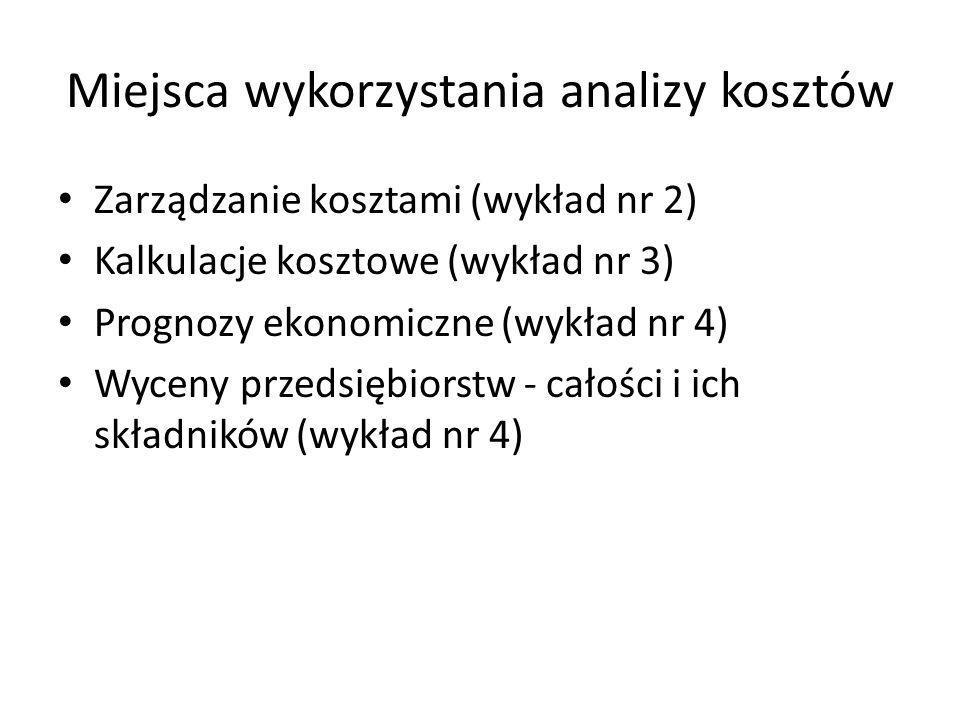 Miejsca wykorzystania analizy kosztów Zarządzanie kosztami (wykład nr 2) Kalkulacje kosztowe (wykład nr 3) Prognozy ekonomiczne (wykład nr 4) Wyceny p