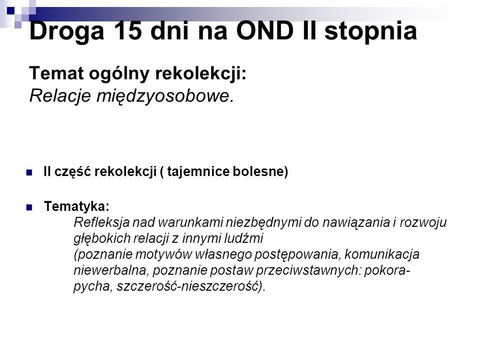 II część rekolekcji ( tajemnice bolesne) Tematyka: Refleksja nad warunkami niezbędnymi do nawiązania i rozwoju głębokich relacji z innymi ludźmi (pozn
