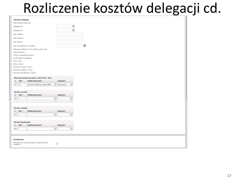 Rozliczenie kosztów delegacji cd.