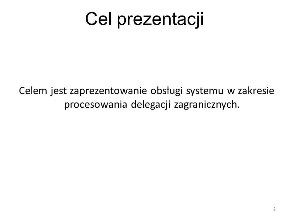 2 Cel prezentacji Celem jest zaprezentowanie obsługi systemu w zakresie procesowania delegacji zagranicznych.