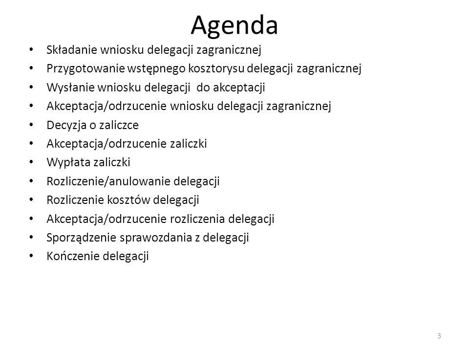 3 Agenda Składanie wniosku delegacji zagranicznej Przygotowanie wstępnego kosztorysu delegacji zagranicznej Wysłanie wniosku delegacji do akceptacji A