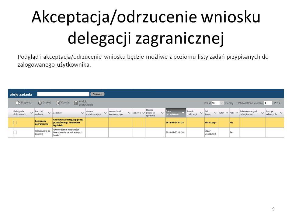 Akceptacja/odrzucenie wniosku delegacji zagranicznej Akceptacji/odrzucenia wniosku delegacji krajowej dokonuje się z poziomu widoku szczegółów wniosku (przyciski Akceptuj oraz Odrzuć).