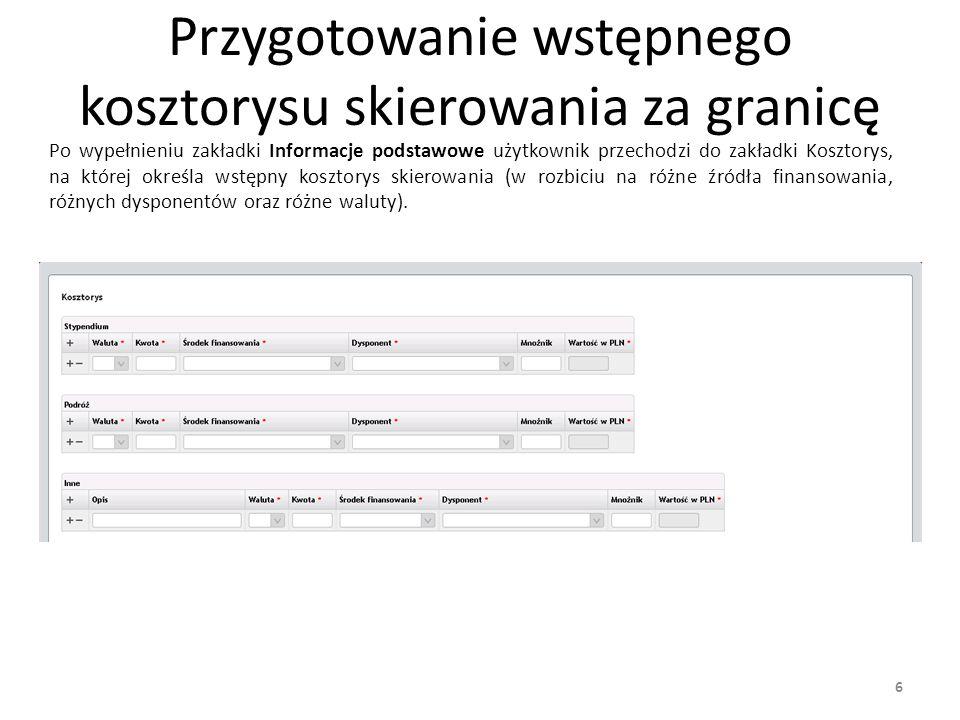 Pod kosztorysem umiejscowione jest Podsumowanie, na którym widoczne są wszystkie waluty wykorzystane na formularzu oraz szacunkowa wartość w PLN (wyliczana na podstawie wykorzystanych walut i mnożników podanych przez użytkownika).