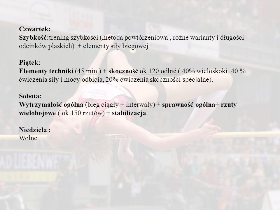 Czwartek: Szybkość:trening szybkości (metoda powtórzeniowa, rożne warianty i długości odcinków płaskich) + elementy siły biegowej Piątek: Elementy tec