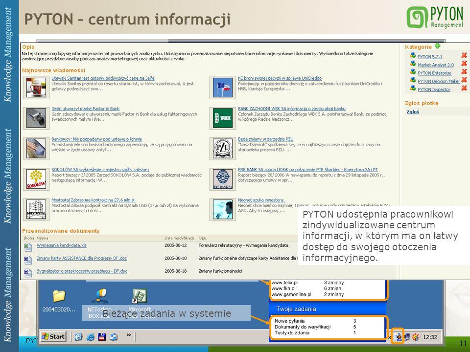 PYTON Knowledge Management 11 Wszystkie potrzebne informacje prosto na pulpit użytkownika! Najnowsze wiadomości Zgłaszane informacje z rynku Komunikac