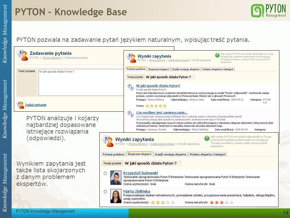 PYTON Knowledge Management 14 PYTON pozwala na zadawanie pytań językiem naturalnym, wpisując treść pytania. PYTON analizuje i kojarzy najbardziej dopa