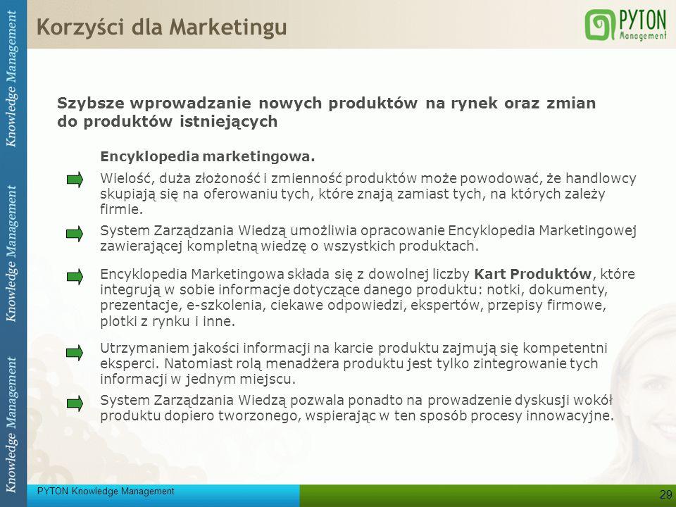 PYTON Knowledge Management 29 Szybsze wprowadzanie nowych produktów na rynek oraz zmian do produktów istniejących Encyklopedia marketingowa. Encyklope