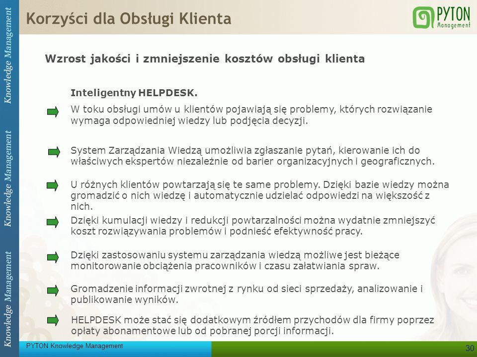 PYTON Knowledge Management 30 Inteligentny HELPDESK. W toku obsługi umów u klientów pojawiają się problemy, których rozwiązanie wymaga odpowiedniej wi