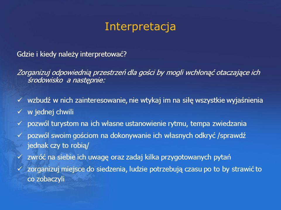 Interpretacja Gdzie i kiedy należy interpretować? Zorganizuj odpowiednią przestrzeń dla gości by mogli wchłonąć otaczające ich środowisko a następnie:
