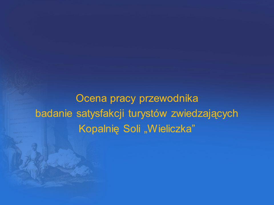 """Ocena pracy przewodnika badanie satysfakcji turystów zwiedzających Kopalnię Soli """"Wieliczka"""""""