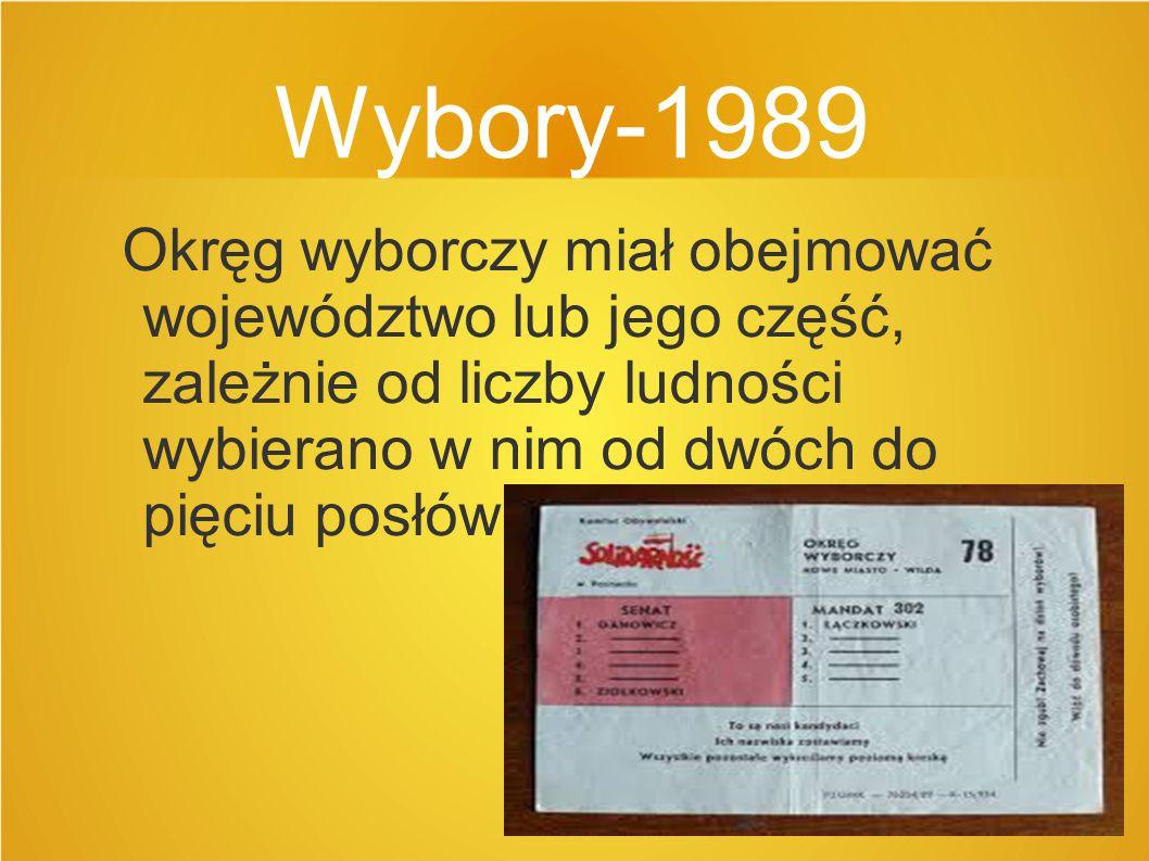 Wybory-1989 Okręg wyborczy miał obejmować województwo lub jego część, zależnie od liczby ludności wybierano w nim od dwóch do pięciu posłów