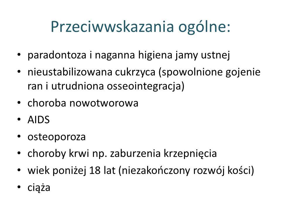 Przeciwwskazania ogólne: paradontoza i naganna higiena jamy ustnej nieustabilizowana cukrzyca (spowolnione gojenie ran i utrudniona osseointegracja) c
