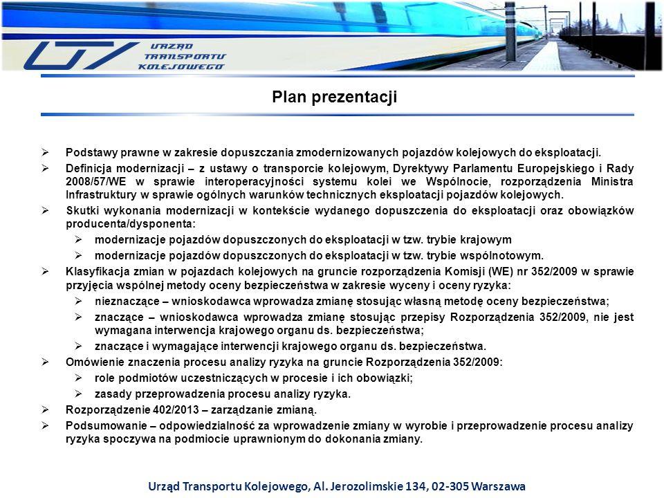 Plan prezentacji  Podstawy prawne w zakresie dopuszczania zmodernizowanych pojazdów kolejowych do eksploatacji.  Definicja modernizacji – z ustawy o