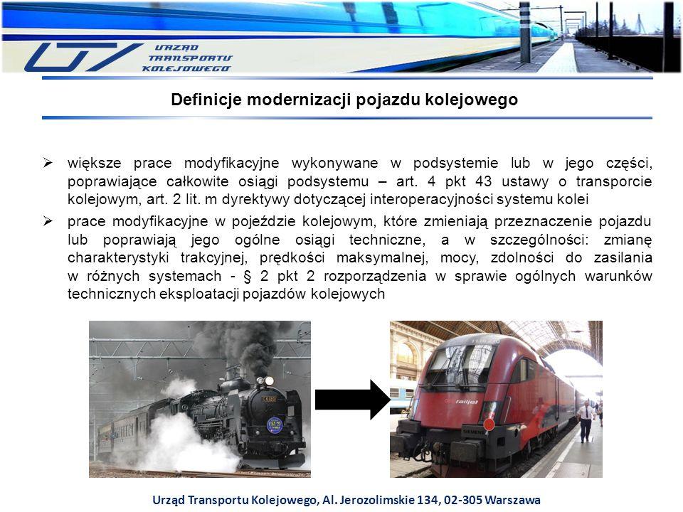 Urząd Transportu Kolejowego, Al. Jerozolimskie 134, 02-305 Warszawa Definicje modernizacji pojazdu kolejowego  większe prace modyfikacyjne wykonywane