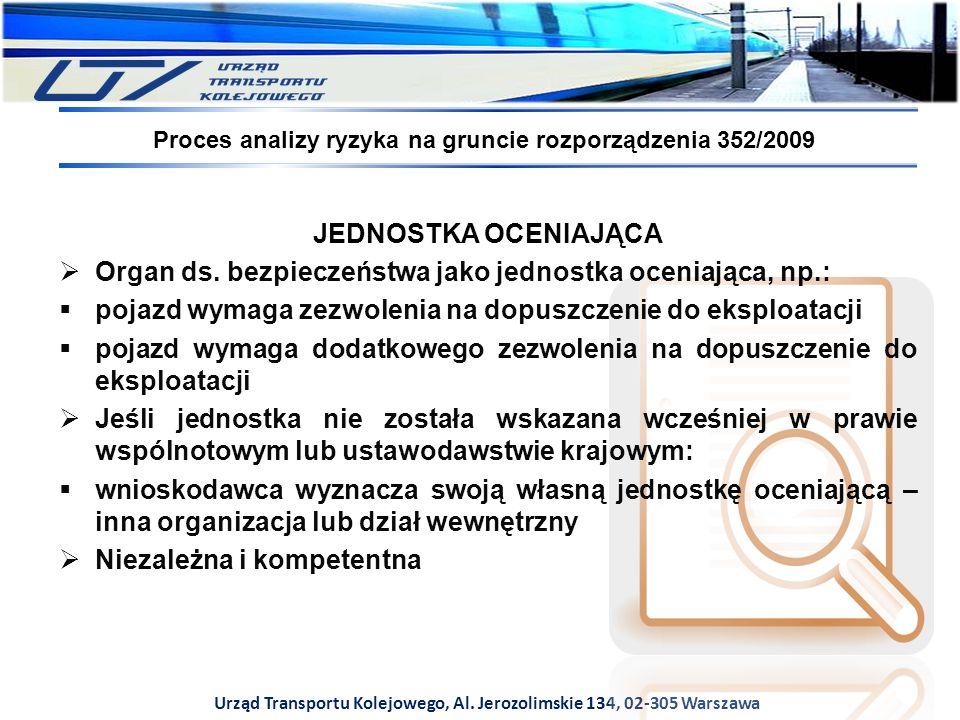 Urząd Transportu Kolejowego, Al. Jerozolimskie 134, 02-305 Warszawa Proces analizy ryzyka na gruncie rozporządzenia 352/2009 JEDNOSTKA OCENIAJĄCA  Or